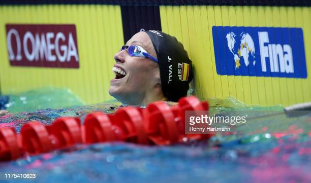 Jessica Vall Montero of Spain celebrates after winning the Womens 100m Breaststroke final race during day two of the FINA Swimming World Cup Berlin...