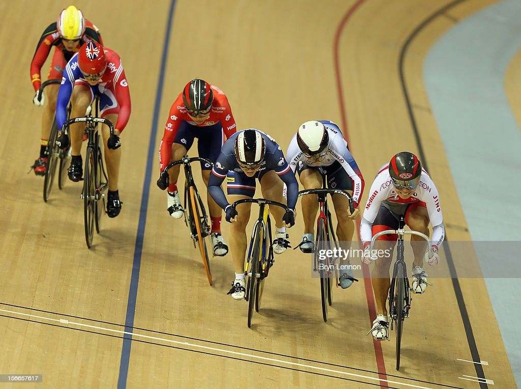 Jessica Varnish (l) of Great Britain rides in the Women's Kierin during day three of the UCI Track Cycling World Cup at the Sir Chris Hoy Velodrome on November 18, 2012 in Glasgow, Scotland.