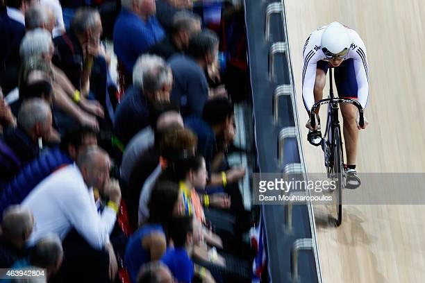 Jessica Varnish of the Great Britain Cycling Team competes in the Womens Sprint Qualifying race during day 3 of the UCI Track Cycling World...