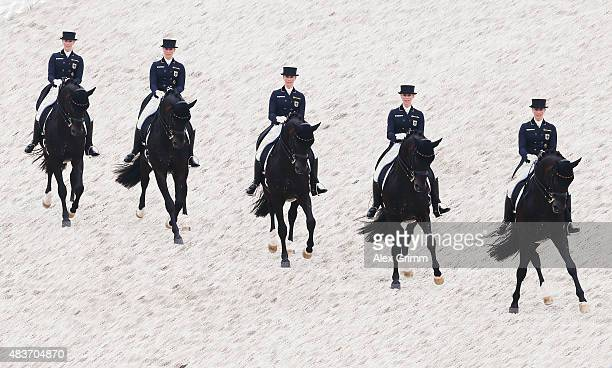 Jessica von BredowWerndl of Germany competes on her horse Unee BB in the Dressage Grand Prix team final and individual qualifier competition during...