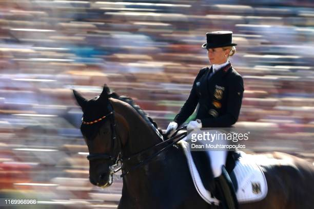 Jessica von Bredow-Werndl of Germany riding TSF Dalera BB competes during Day 6 of the Grand Prix Freestyle, Longines FEI Dressage European...