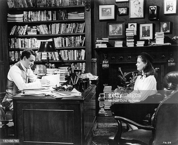 Jessica Walter applies to Hal Holbrook for a job at a publishing firm in a scene from the film 'The Group' 1966