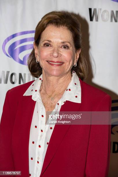 Jessica Walter attends the Archer press room at WonderCon 2019 Day 3 at Anaheim Convention Center on March 31 2019 in Anaheim California