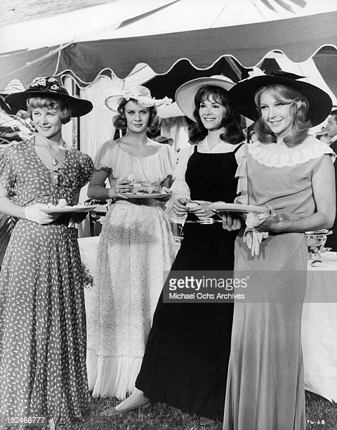 Jessica Walter Shirley Knight MaryRobin Redd and Joanna Pettet attend a garden wedding in a scene from the film 'The Group' 1966