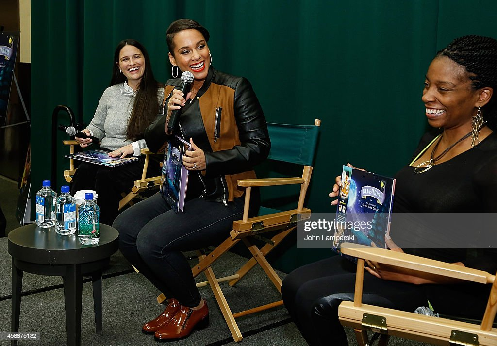 Jessica Walton, Alicia Keys and Makeda Mays Green' speak; 'Blue Moon: From The Journals Of Mama Mae & LeeLee' Book Release at Barnes & Noble Tribeca on November 12, 2014 in New York City.