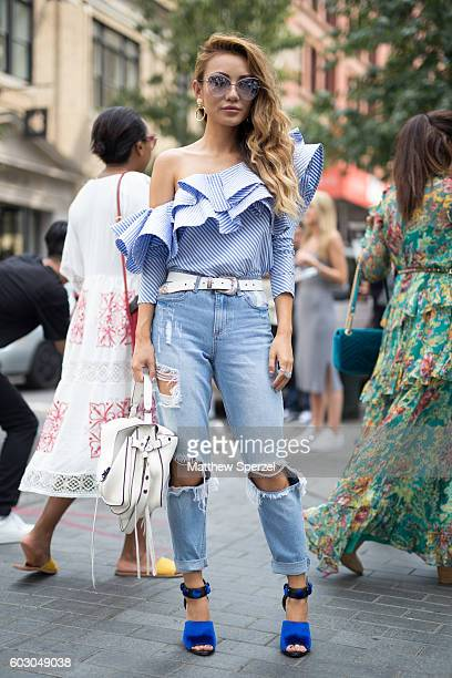 Jessica Wang is seen attending Rebecca Minkoff during New York Fashion Week on September 9 2016 in New York City