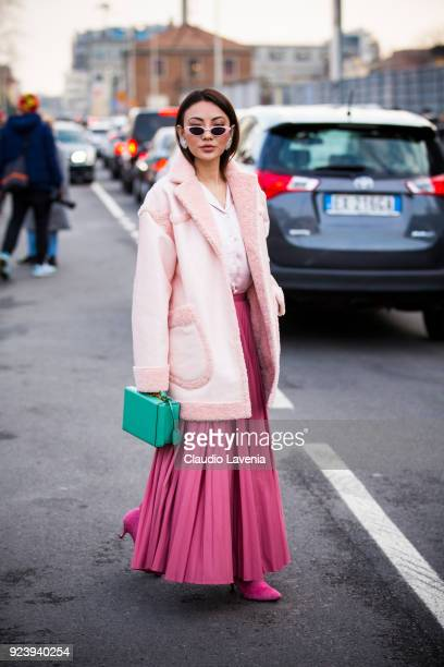Jessica Wang is seen outside Missoni show during Milan Fashion Week Fall/Winter 2018/19 on February 24 2018 in Milan Italy