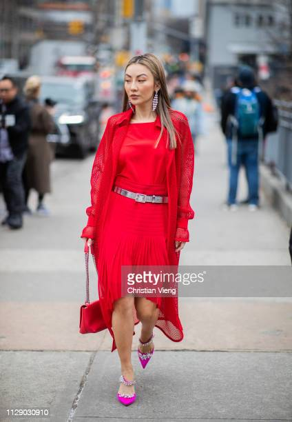 Jessica Wang is seen wearing red dress outside Zimmermann during New York Fashion Week Autumn Winter 2019 on February 11 2019 in New York City