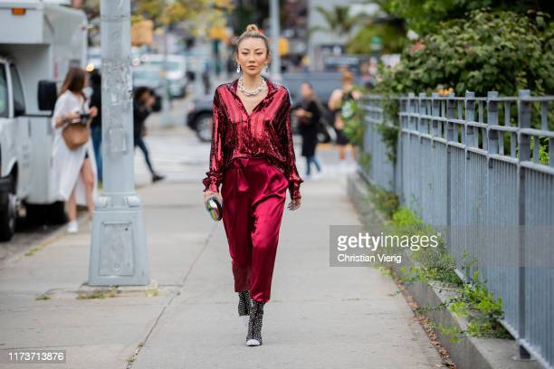 Jessica Wang is seen wearing red pants and top outside Sally LaPointe during New York Fashion Week September 2019 on September 10, 2019 in New York...
