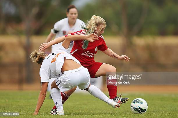 Jessica Waterhouse of Adelaide wins the ball during the round 12 WLeague match between Adelaide United and the Perth Glory at Burton Park on January...