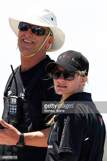 Jessica Watson aboard 'Perpetual Loyal' looks on prior to the 2013 Sydney to Hobart yacht race on December 26 2013 in Sydney Australia