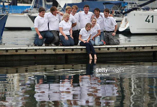 Jessica Watson poses alongside crew mates during a media conference to announce her next project which is to skipper the youngest ever crew in the...