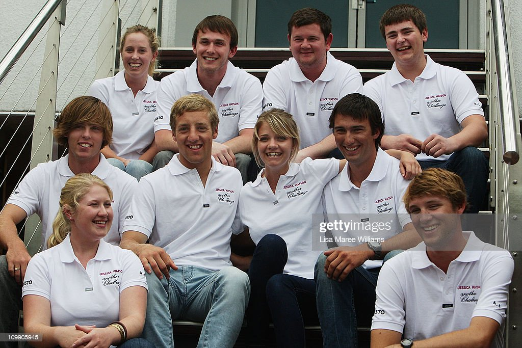 Jessica Watson (c) poses with crew mates during a media conference to announce her next project, which is to skipper the youngest ever crew in the 2011 Rolex Sydney Hobart Yacht Race, at the Cruising Yacht Club of Australia on March 10, 2011 in Sydney, Australia. Watson become the youngest person to sail solo, non-stop and unassisted around the world in 2010, and was named Young Australian of the Year at the 2011 Australian of the Year Awards in recognition of her achievement.
