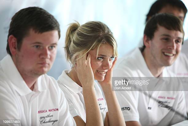 Jessica Watson sits alongside crew mates during a media conference to announce her next project which is to skipper the youngest ever crew in the...
