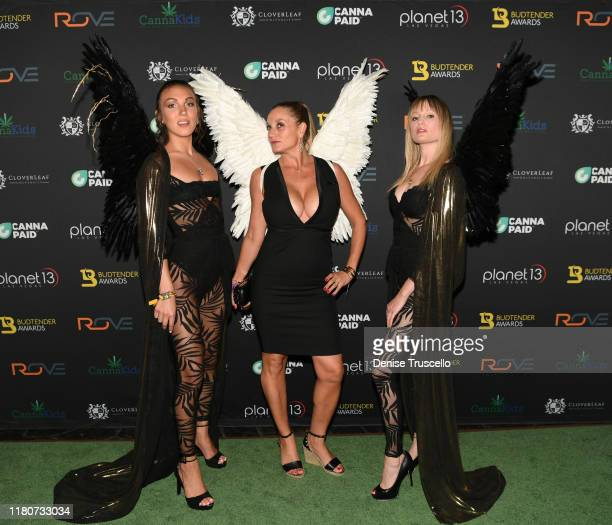 Jessica Webber and Kelly Pantaleoni arrive at the First Budtender Awards at Light Nightclub at Mandalay Bay Hotel and Casino on October 12 2019 in...