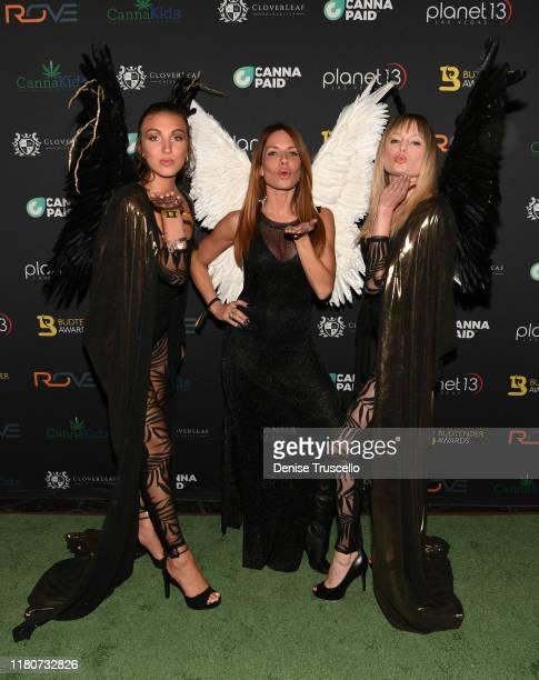 Jessica Webber Jenae Alt and Kelly Pantaleoni arrive at the First Budtender Awards at Light Nightclub at Mandalay Bay Hotel and Casino on October 12...