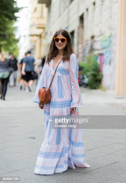 Jessica Weiss wearing a plaid dress brown Gucci bag during the MercedesBenz Fashion Week Berlin Spring/Summer 2018 at Kaufhaus Jandorf on July 6 2017...