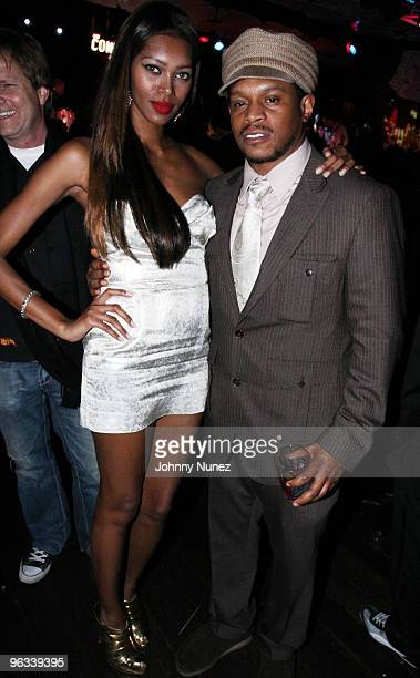 Jessica White and Sway attend Jamie Foxx's Post Grammy Party at The Conga Room at LA Live on January 31 2010 in Los Angeles California