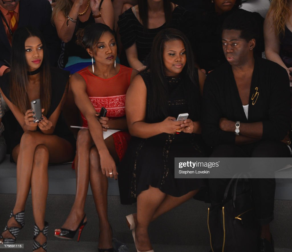 Jessica White, Patina Miller, Amber Riley and J. Alexander attend the Tadashi Shoji Spring 2014 fashion show during Mercedes-Benz Fashion Week at The Stage at Lincoln Center on September 5, 2013 in New York City.