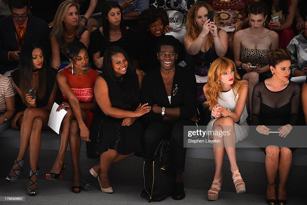 Jessica White; Patina Miller, Amber Riley, J. Alexander, Bella Thorne and Alyssa Milano attend the Tadashi Shoji Spring 2014 fashion show during Mercedes-Benz Fashion Week at The Stage at Lincoln Center on September 5, 2013 in New York City.