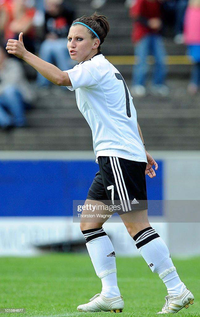 Jessica Wich of Germany gestures during the U20 international friendly match between Germany and South Korea at Waldstadion on June 2, 2010 in Giessen, Germany.