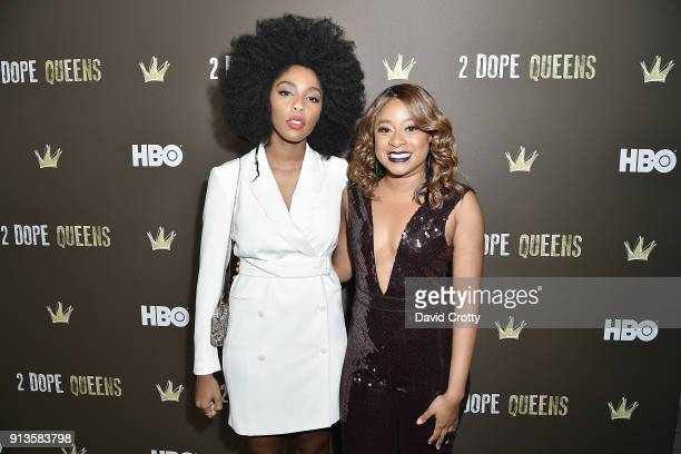 Jessica Williams and Phoebe Robinson attend HBO's '2 Dope Queens' Los Angeles Slumber Party Premiere at NeueHouse Hollywood on February 2 2018 in Los...