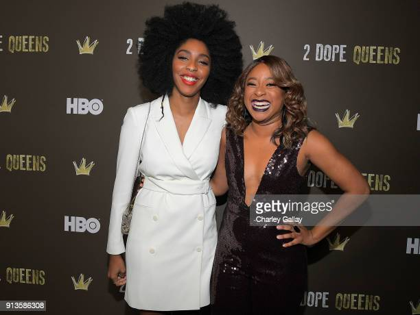 Jessica Williams and Phoebe Robinson attend HBO's 2 Dope Queens LA Slumber Party Premiere on February 2 2018 in Los Angeles California