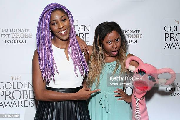 Jessica Williams and Phoebe Robinson attend The Golden Probe Awards 2016 at Le Poisson Rouge on October 2 2016 in New York City