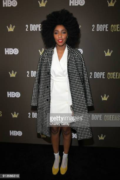 Jessica Williams attends HBO's 2 Dope Queens LA Slumber Party Premiere on February 2 2018 in Los Angeles California