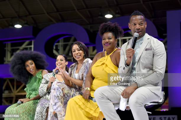 Jessica Williams Dascha Polanco Selenis Leyva Adrienne C Moore and Marlon Wayans speak onstage during Netflix At Essence Festival 2017 Day 2 on July...