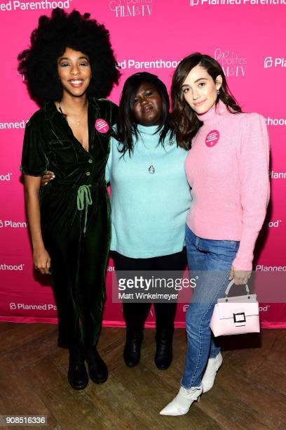 Jessica Williams Gabourey Sidibe Emmy Rossum attends Politics Film And TV Reception CoHosted by Refinery29 at OP Rockwell on January 21 2018 in Park...