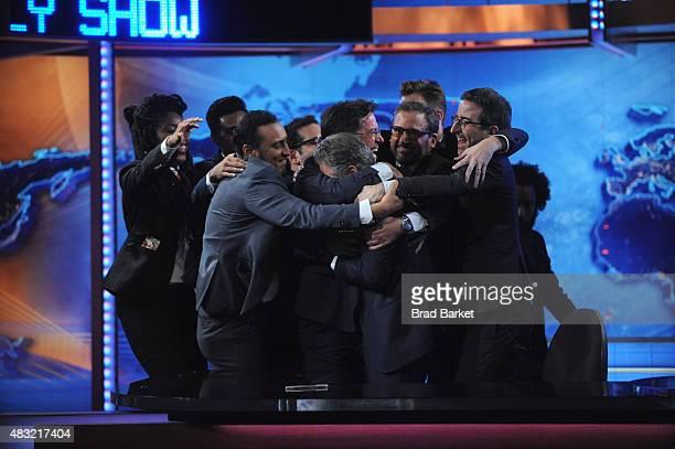 Jessica Williams Hasan Minhaj Aasif Mandvi Stephen Colbert Jon Stewart Steve Carell Jordan Klepper John Oliver and Wyatt Cenac appear on 'The Daily...
