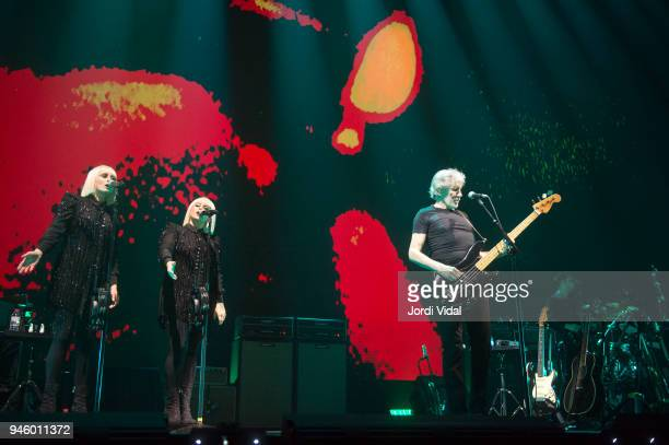 Jessica Wolfe Holy Laesing and Roger Waters perform on stage during the first date of Us Them European Tour at Palau Sant Jordi on April 13 2018 in...