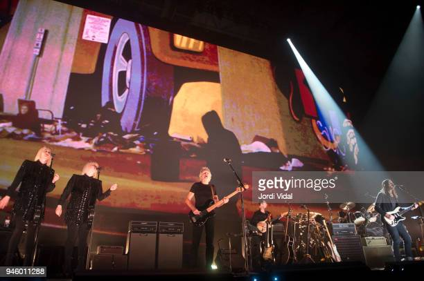 Jessica Wolfe Holy Laesing Roger Waters and Jonathan Wilson perform on stage during the first date of Us Them European Tour at Palau Sant Jordi on...