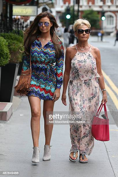 Jessica Wright and mother Carol Wright visit the Tracy Giles bespoke make up salon in Knightsbridge on August 3 2015 in London England