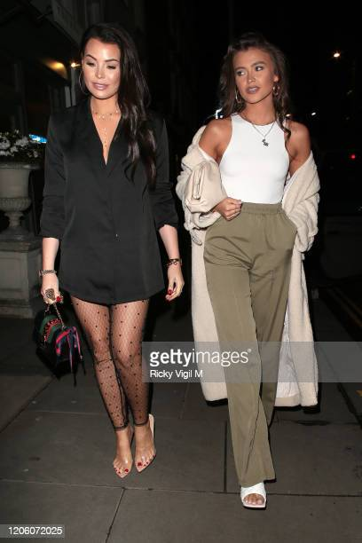 Jessica Wright and Natalya Wright seen attending PrettyLittleThing x Tatti Lashes dinner at The ivy Chelsea Garden on February 13 2020 in London...
