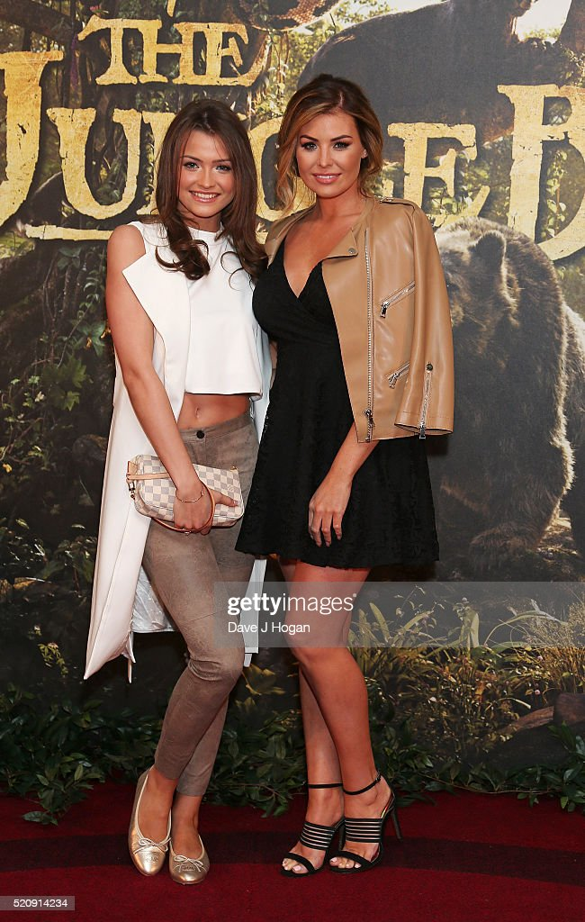Jessica Wright (R) and sister Natalya Wright arrive for the European premiere of 'The Jungle Book' at BFI IMAX on April 13, 2016 in London, England.