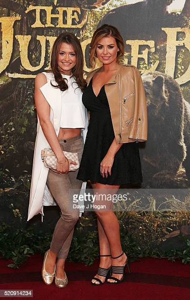 Jessica Wright and sister Natalya Wright arrive for the European premiere of 'The Jungle Book' at BFI IMAX on April 13 2016 in London England