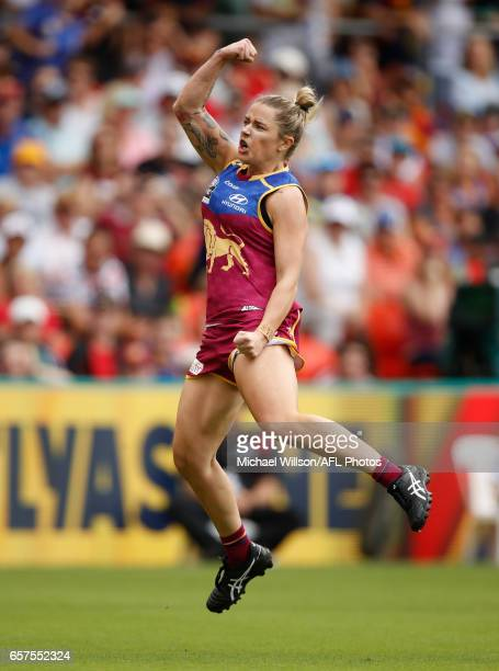 Jessica Wuetschner of the Lions celebrates a goal during the 2017 AFLW Grand Final match between the Brisbane Lions and the Adelaide Crows at...
