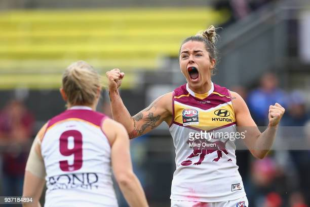 Jessica Wuetschner of the Lions celebrates after kicking a goal during the AFLW Grand Final match between the Western Bulldogs and the Brisbane Lions...