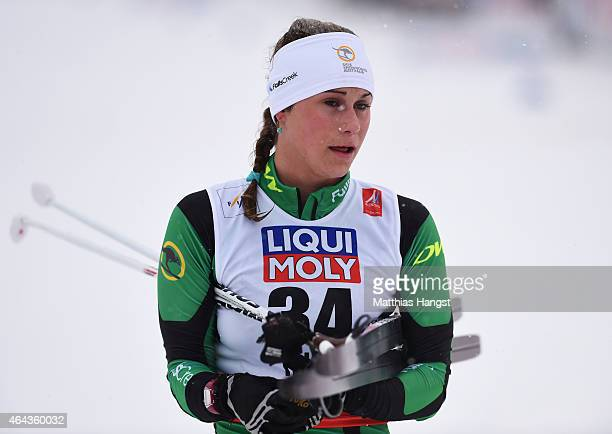 Jessica Yeaton of Australia looks on during the Women's 10km CrossCountry during the FIS Nordic World Ski Championships at the Lugnet venue on...