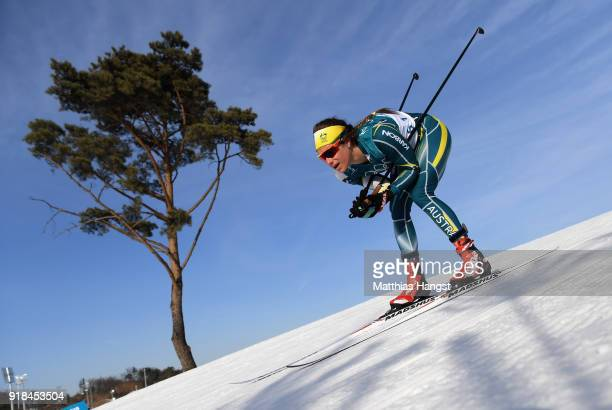 Jessica Yeaton of Australia skis during the CrossCountry Skiing Ladies' 10 km Free on day six of the PyeongChang 2018 Winter Olympic Games at...