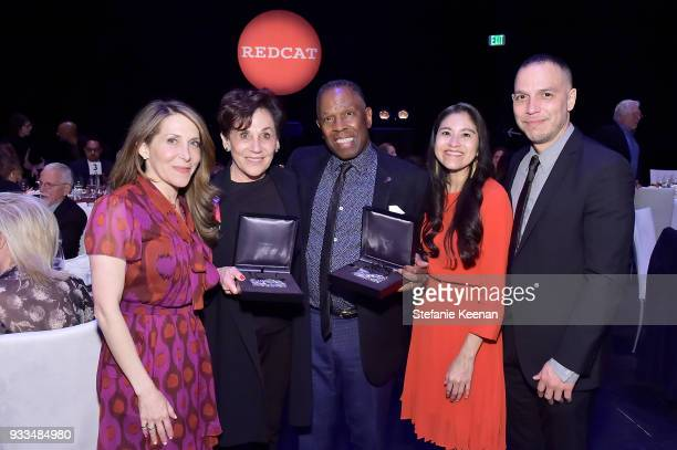 Jessica Yellin Adele Yellin Charles Gaines Roxana Landaverde and Malik Gaines attend The CalArts REDCAT Gala Honoring Charles Gaines and Adele Yellin...