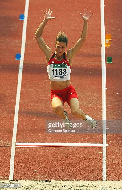 Jessica Zelinka of Canada competes in the Long Jump during the Women's Heptathlon at Jawaharlal Stadium during day six of the Delhi 2010 Commonwealth...