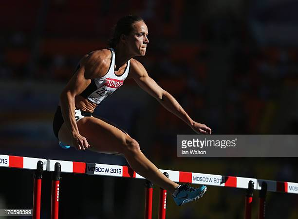 Jessica Zelinka of Canada competes in the Women's 100 metres hurdles heats during Day Seven of the 14th IAAF World Athletics Championships Moscow...
