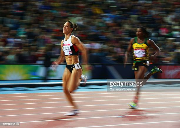 Jessica Zelinka of Canada competes in the Women's Heptathlon 200 metres at Hampden Park during day six of the Glasgow 2014 Commonwealth Games on July...
