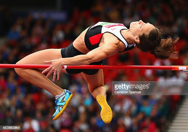 Jessica Zelinka of Canada competes in the Women's Heptathlon high jump at Hampden Park during day six of the Glasgow 2014 Commonwealth Games on July...