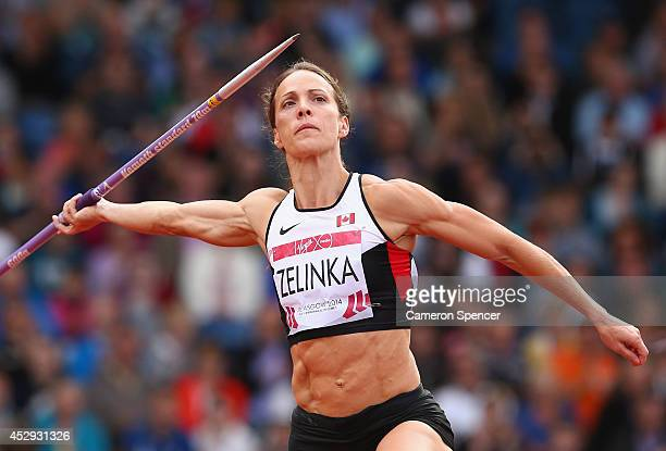 Jessica Zelinka of Canada competes in the Women's Heptathlon Javelin at Hampden Park during day seven of the Glasgow 2014 Commonwealth Games on July...