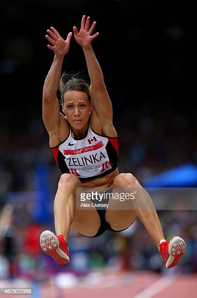 Jessica Zelinka of Canada competes in the Women's Heptathlon Long Jump at Hampden Park during day seven of the Glasgow 2014 Commonwealth Games on...