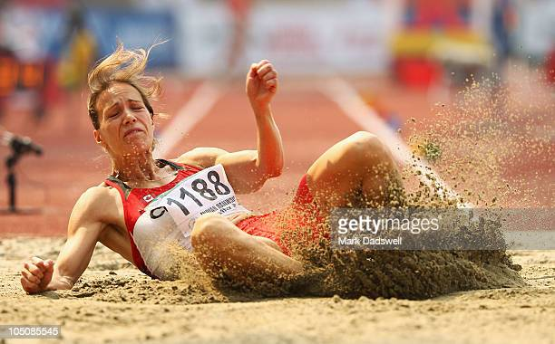 Jessica Zelinka of Canada competes in the women's long jump in the women's heptathlon during day six of the Delhi 2010 Commonwealth Games at...